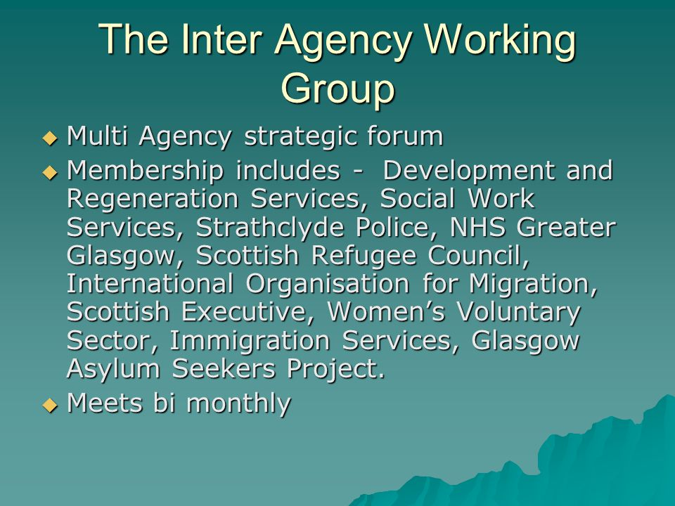 The Inter Agency Working Group  Multi Agency strategic forum  Membership includes - Development and Regeneration Services, Social Work Services, Strathclyde Police, NHS Greater Glasgow, Scottish Refugee Council, International Organisation for Migration, Scottish Executive, Women's Voluntary Sector, Immigration Services, Glasgow Asylum Seekers Project.