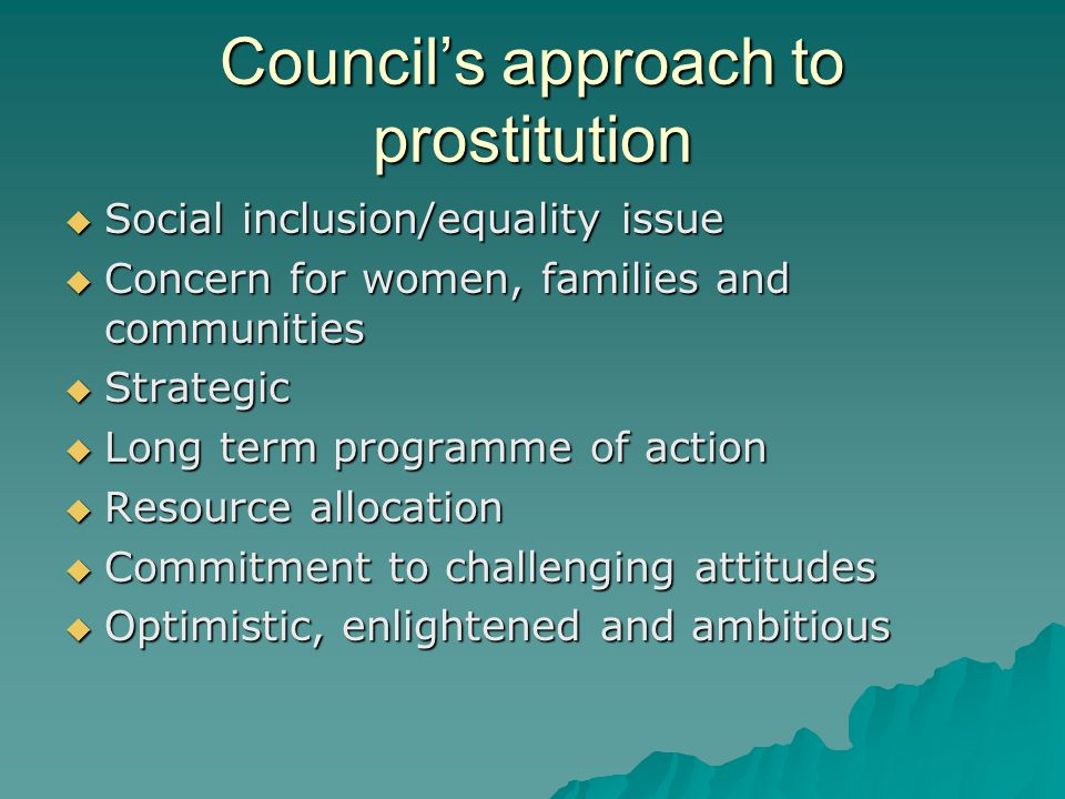 Council's approach to prostitution  Social inclusion/equality issue  Concern for women, families and communities  Strategic  Long term programme of action  Resource allocation  Commitment to challenging attitudes  Optimistic, enlightened and ambitious