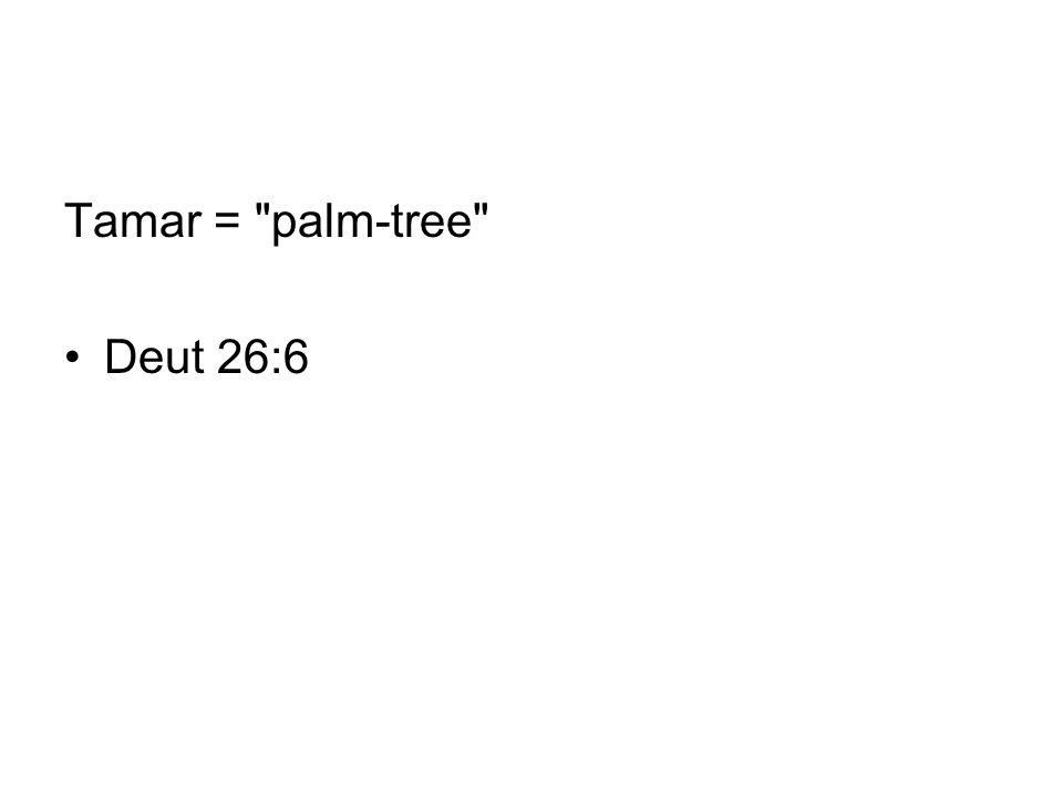 Tamar = palm-tree Deut 26:6