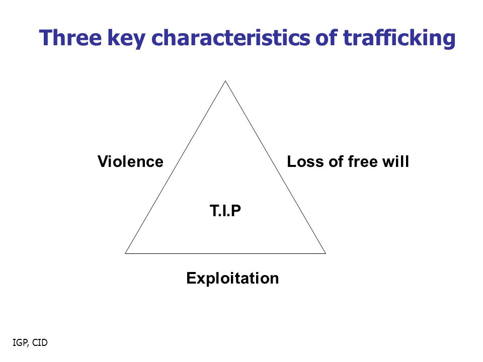 IGP, CID Three key characteristics of trafficking T.I.P ViolenceLoss of free will Exploitation
