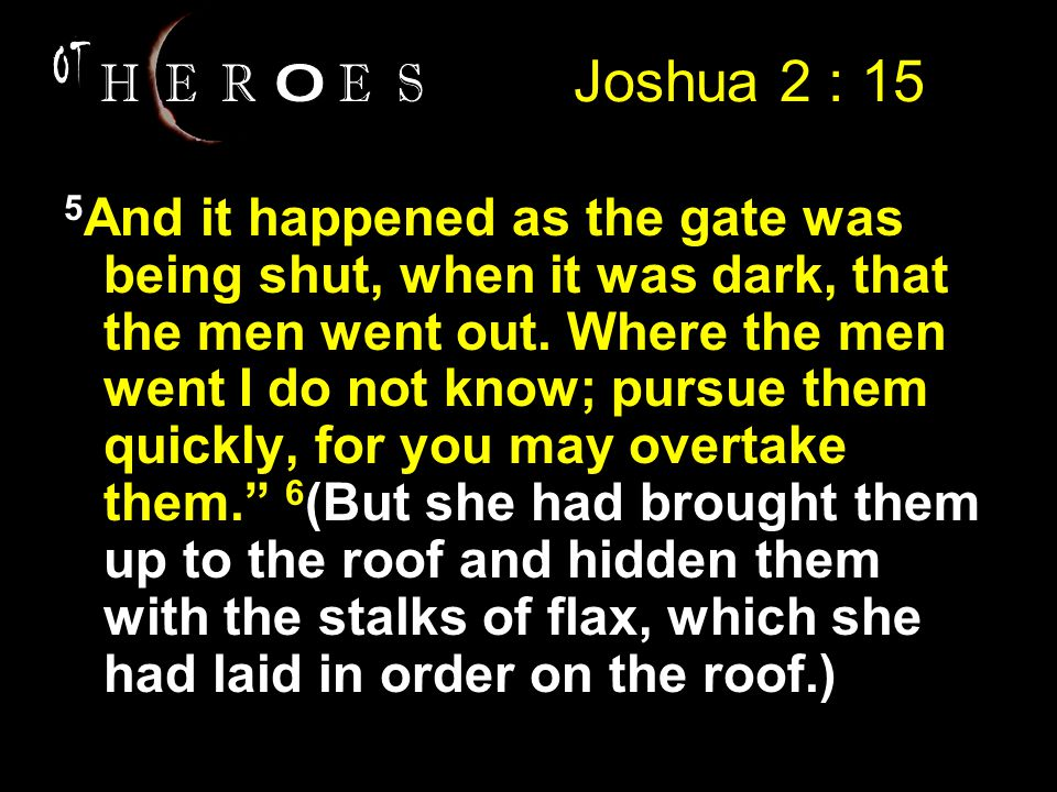 Joshua 2 : 15 5 And it happened as the gate was being shut, when it was dark, that the men went out.