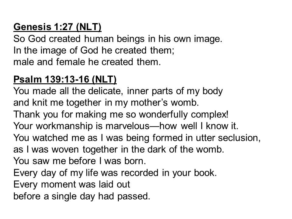Genesis 1:27 (NLT) So God created human beings in his own image.