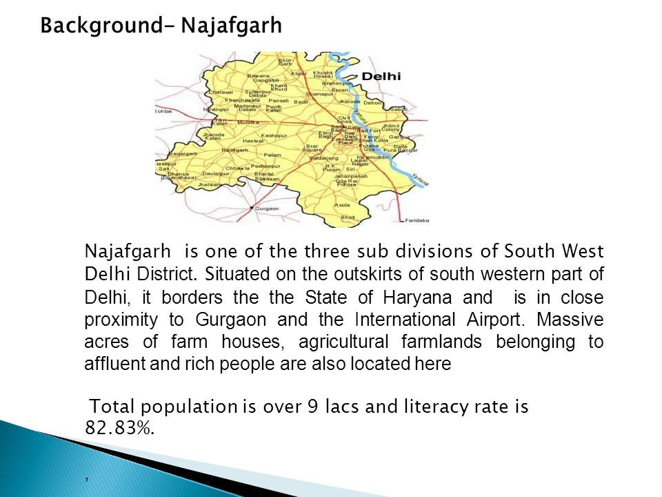 Background- Najafgarh Najafgarh is one of the three sub divisions of South West Delhi District.