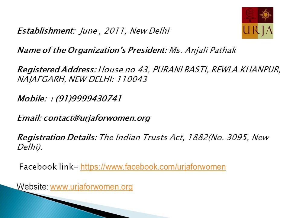 Establishment: June, 2011, New Delhi Name of the Organization's President: Ms.