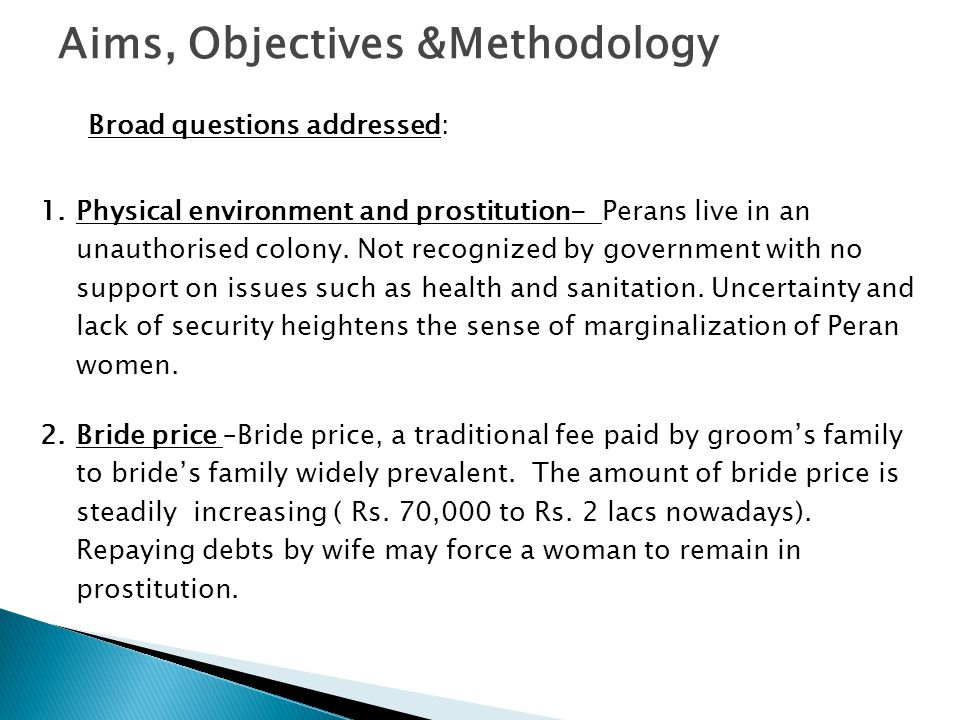 Aims, Objectives &Methodology Broad questions addressed: 1.Physical environment and prostitution- Perans live in an unauthorised colony. Not recognize