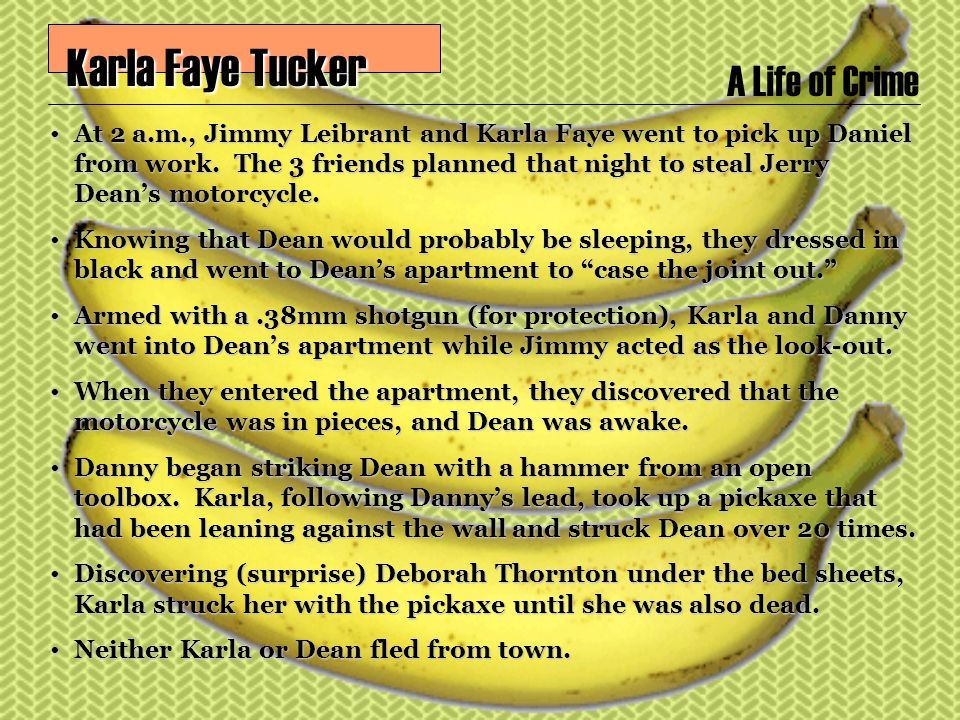 A Life of Crime Karla Faye Tucker Karla Faye Tucker At 2 a.m., Jimmy Leibrant and Karla Faye went to pick up Daniel from work.