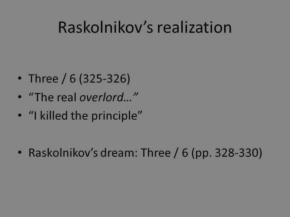Raskolnikov's realization Three / 6 (325-326) The real overlord… I killed the principle Raskolnikov's dream: Three / 6 (pp.