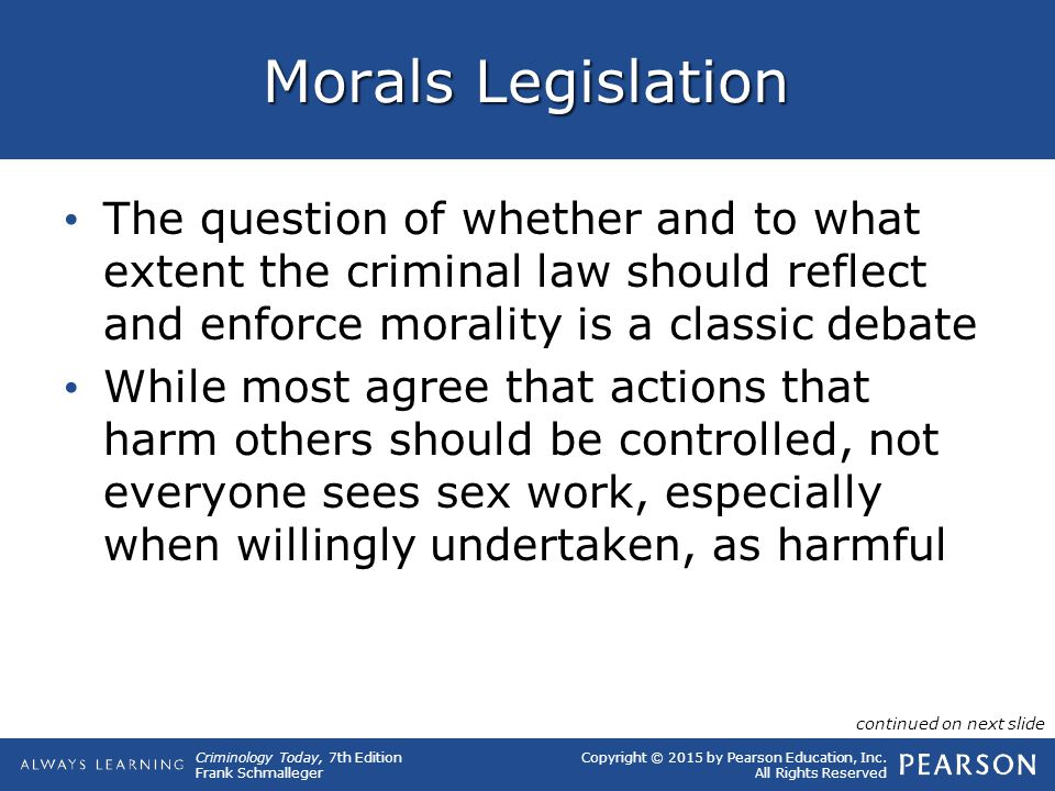 Copyright © 2015 by Pearson Education, Inc. All Rights Reserved Criminology Today, 7th Edition Frank Schmalleger Morals Legislation The question of wh