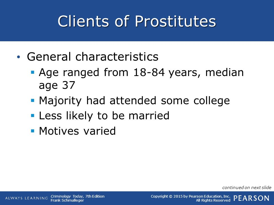Copyright © 2015 by Pearson Education, Inc. All Rights Reserved Criminology Today, 7th Edition Frank Schmalleger Clients of Prostitutes General charac