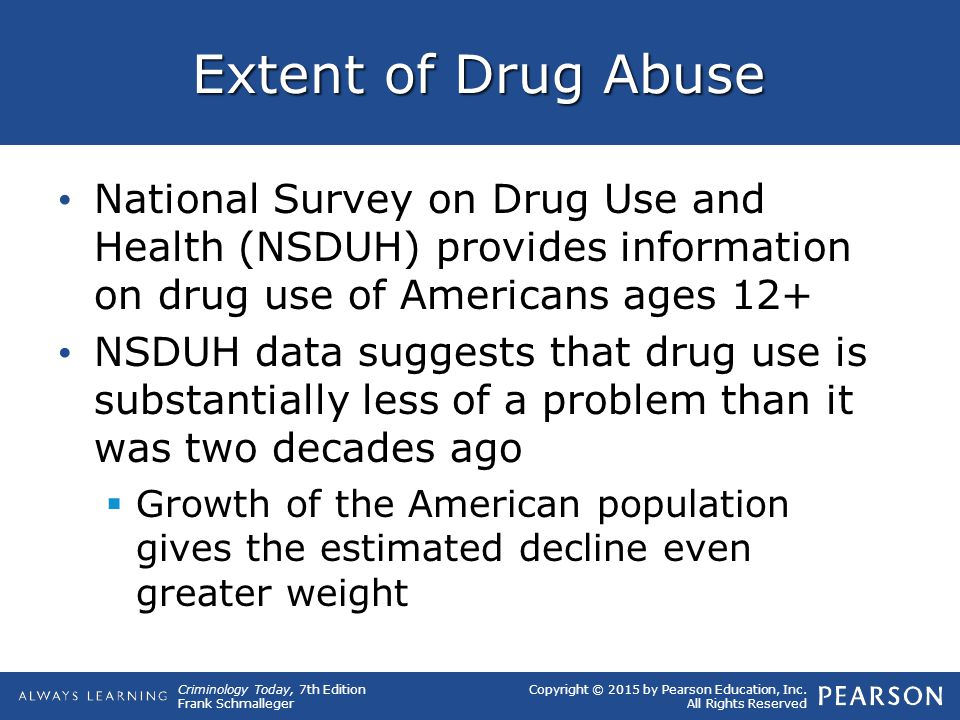 Copyright © 2015 by Pearson Education, Inc. All Rights Reserved Criminology Today, 7th Edition Frank Schmalleger Extent of Drug Abuse National Survey