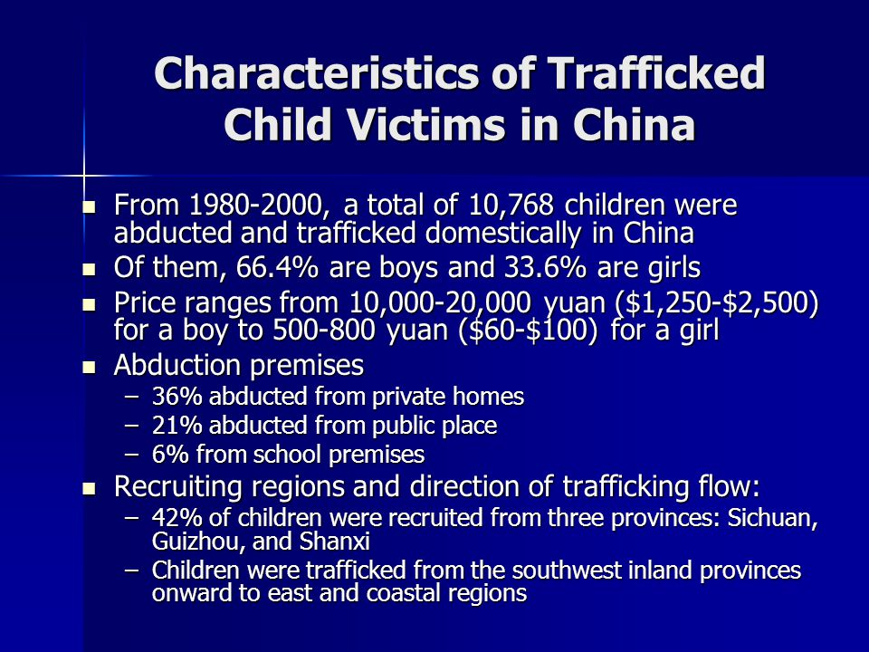 Age of Child Victims Age group Total Population BoysGirls 1 day-7 years old 69%78%36% 8-14 years old 31%22%64% Total100%100%100%