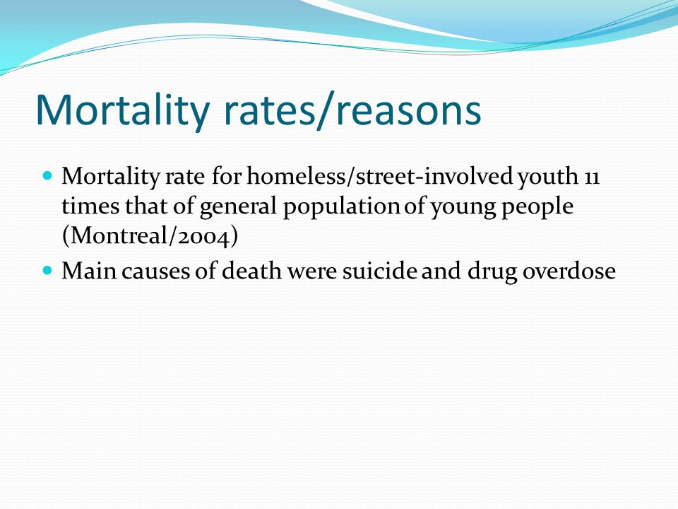 Mortality rates/reasons Mortality rate for homeless/street-involved youth 11 times that of general population of young people (Montreal/2004) Main causes of death were suicide and drug overdose