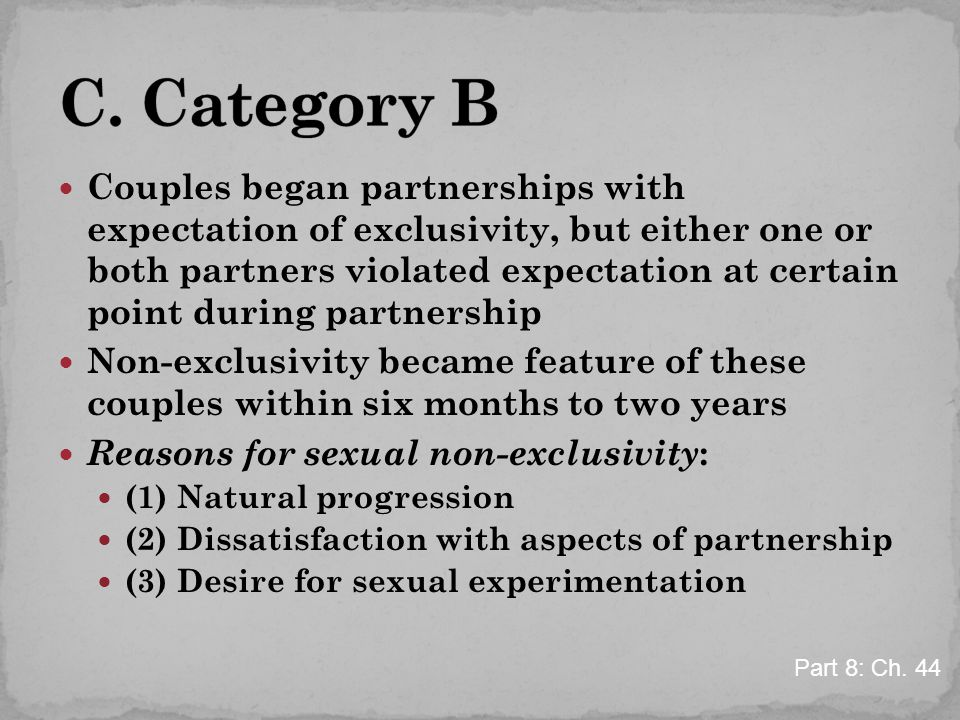 Couples began partnerships with expectation of exclusivity, but either one or both partners violated expectation at certain point during partnership N