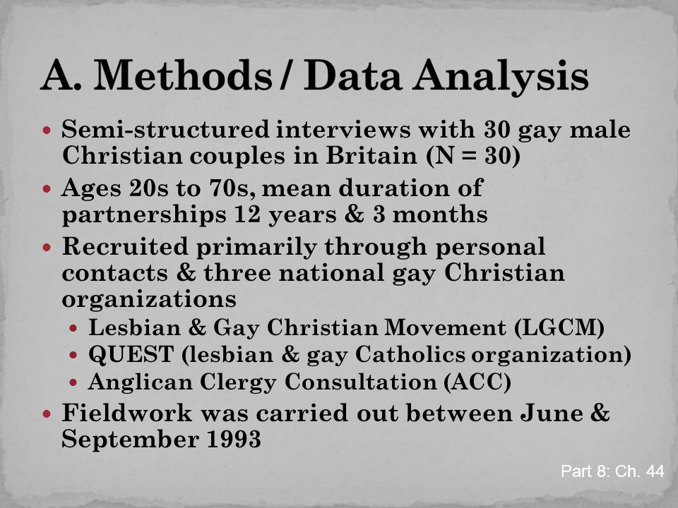 Semi-structured interviews with 30 gay male Christian couples in Britain (N = 30) Ages 20s to 70s, mean duration of partnerships 12 years & 3 months R