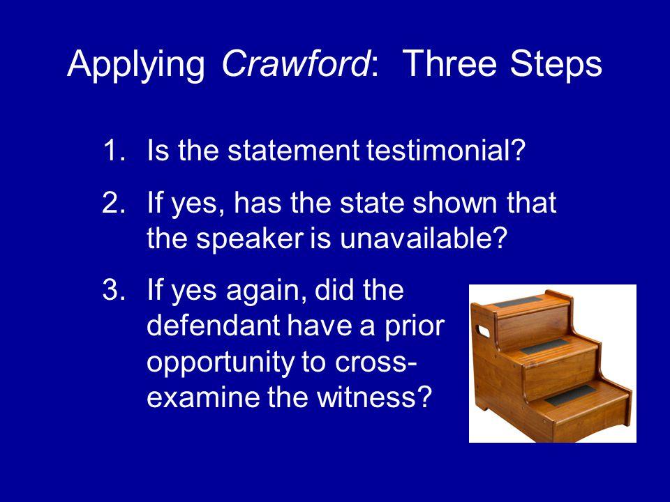 Applying Crawford: Three Steps 1.Is the statement testimonial.
