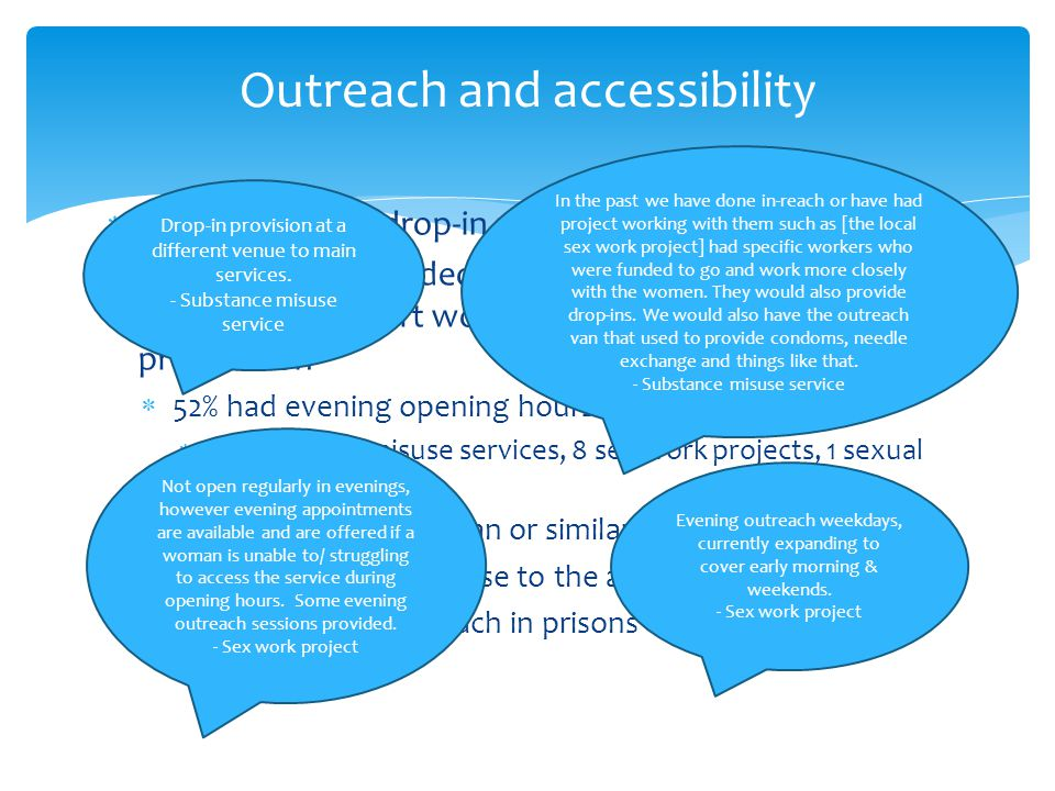 Outreach and accessibility  ¾ (69%) offered drop-in and/or open access services  BUT only half provided this in a format likely to specifically support women involved in street-based prostitution  52% had evening opening hours  17 substance misuse services, 8 sex work projects, 1 sexual health  52% had an outreach van or similar  38% used a location close to the area used for soliciting  30% conducted outreach in prisons In the past we have done in-reach or have had project working with them such as [the local sex work project] had specific workers who were funded to go and work more closely with the women.