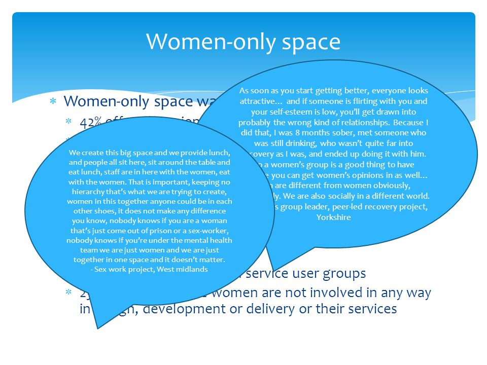  Women-only space was not common  42% offered session times that were women-only  28% offered session times that were only for women involved in prostitution  Women's involvement in service provision  Only 1 service had a woman on their board of treetess with experiences of prostitution and drug use  Only 4 employ these women as staff  28% have them as volunteers  58% consult them through service user groups  23% admit that these women are not involved in any way in design, development or delivery or their services Women-only space As soon as you start getting better, everyone looks attractive… and if someone is flirting with you and your self-esteem is low, you'll get drawn into probably the wrong kind of relationships.
