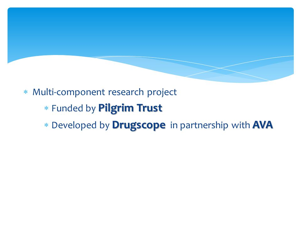  Multi-component research project Pilgrim Trust  Funded by Pilgrim Trust DrugscopeAVA  Developed by Drugscope in partnership with AVA