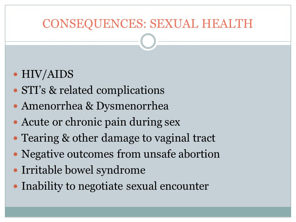 HIV/AIDS STI's & related complications Amenorrhea & Dysmenorrhea Acute or chronic pain during sex Tearing & other damage to vaginal tract Negative outcomes from unsafe abortion Irritable bowel syndrome Inability to negotiate sexual encounter