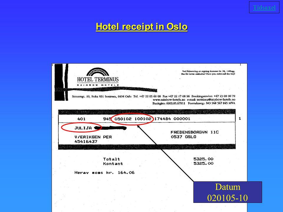 Hotel receipt in Oslo Datum 020105-10 Tidsaxel