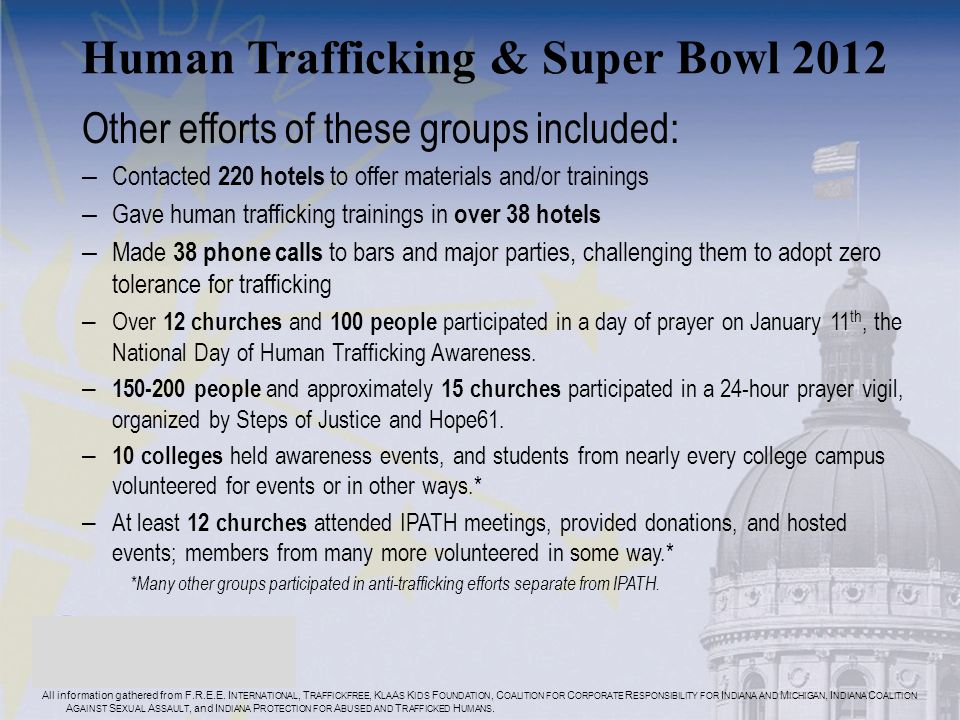Human Trafficking & Super Bowl 2012 Other efforts of these groups included: – Contacted 220 hotels to offer materials and/or trainings – Gave human trafficking trainings in over 38 hotels – Made 38 phone calls to bars and major parties, challenging them to adopt zero tolerance for trafficking – Over 12 churches and 100 people participated in a day of prayer on January 11 th, the National Day of Human Trafficking Awareness.