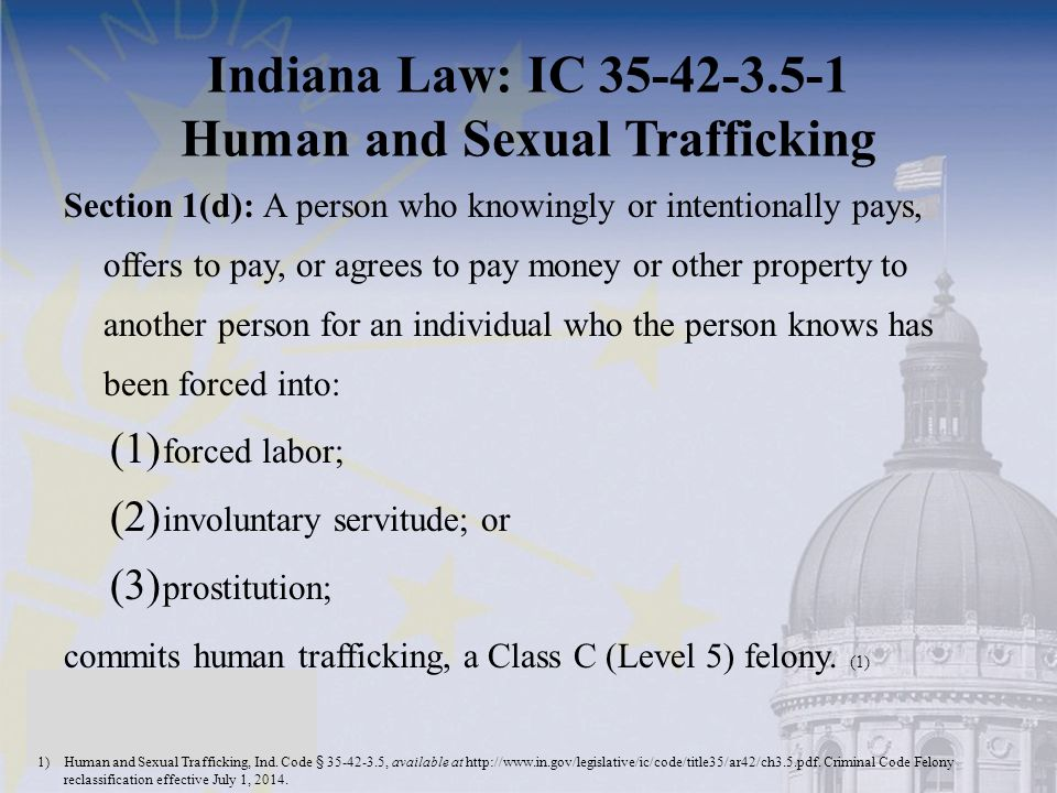 Indiana Law: IC 35-42-3.5-1 Human and Sexual Trafficking Section 1(d): A person who knowingly or intentionally pays, offers to pay, or agrees to pay money or other property to another person for an individual who the person knows has been forced into: (1) forced labor; (2) involuntary servitude; or (3) prostitution; commits human trafficking, a Class C (Level 5) felony.