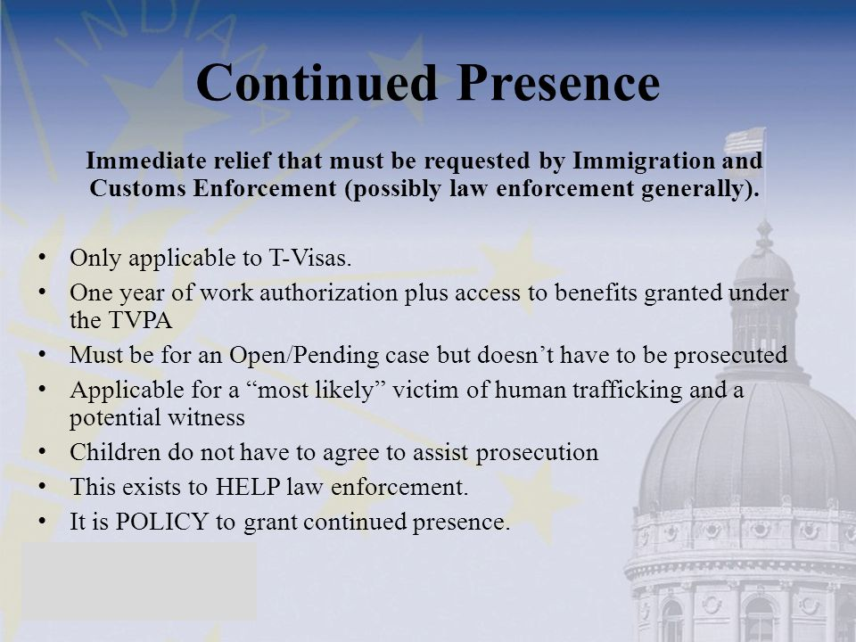 Continued Presence Immediate relief that must be requested by Immigration and Customs Enforcement (possibly law enforcement generally).