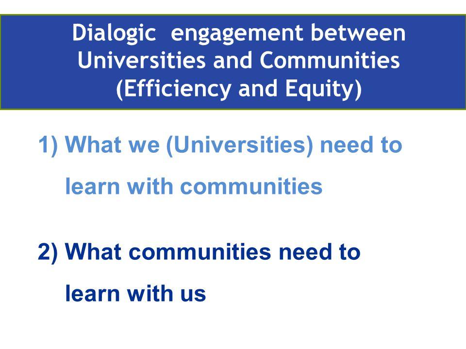 1)What we (Universities) need to learn with communities 2)What communities need to learn with us Retos actuales de la EA en Europa Compromiso con la comunidad Community engagement Dialogic engagement between Universities and Communities (Efficiency and Equity)
