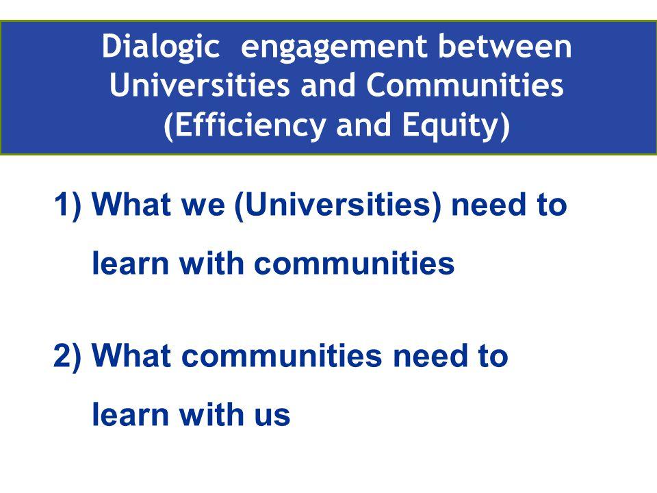 1)What we (Universities) need to learn with communities 2)What communities need to learn with us Retos actuales de la EA en Europa Compromiso con la comunidad Dialogic engagement between Universities and Communities (Efficiency and Equity)