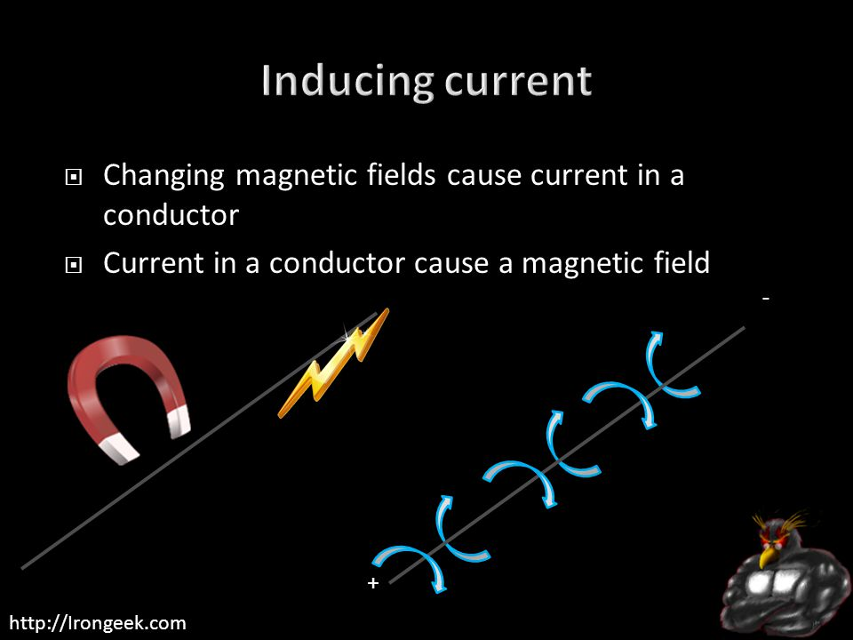http://Irongeek.com  Changing magnetic fields cause current in a conductor  Current in a conductor cause a magnetic field + -