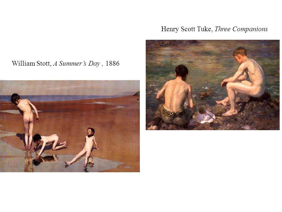Henry Scott Tuke, Three Companions William Stott, A Summer's Day, 1886