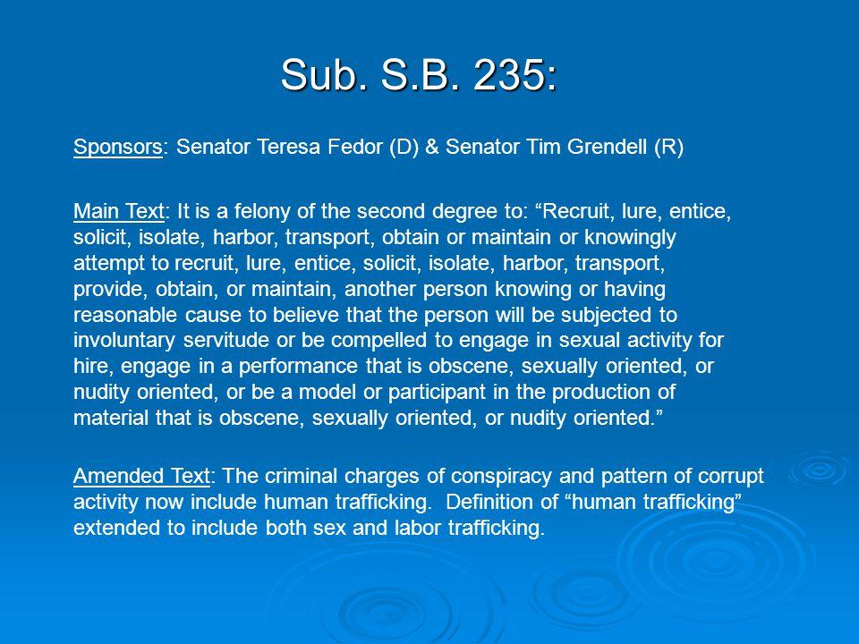 "Sub. S.B. 235: Sponsors: Senator Teresa Fedor (D) & Senator Tim Grendell (R) Main Text: It is a felony of the second degree to: ""Recruit, lure, entice"