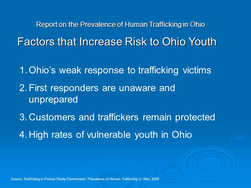 Report on the Prevalence of Human Trafficking in Ohio Factors that Increase Risk to Ohio Youth Source: Trafficking in Person Study Commission: Prevale