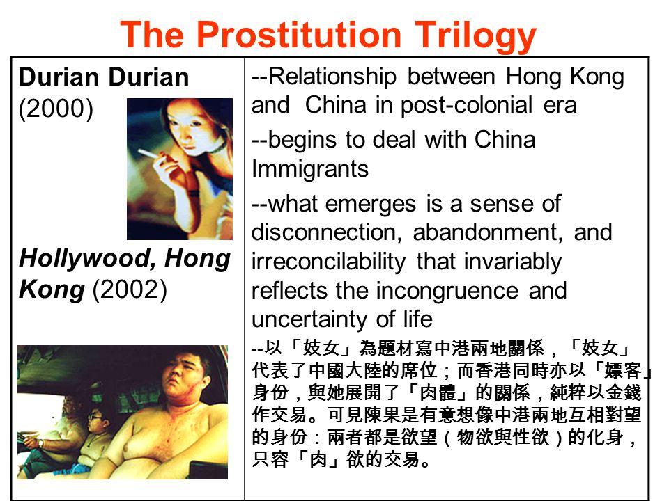 Hollywood, Hong Kong (2002) Interview with Fruit Chen The different between Durian Durian and Hollywood, Hong Kong: 香港有很多家庭問題,都是由於丈夫北上 包二奶但老婆不知道 我想集中在一個中國女人來到大磡村之後 所引起的騷動。講男人的迷失。你知道, 香港換了一個老闆 ……