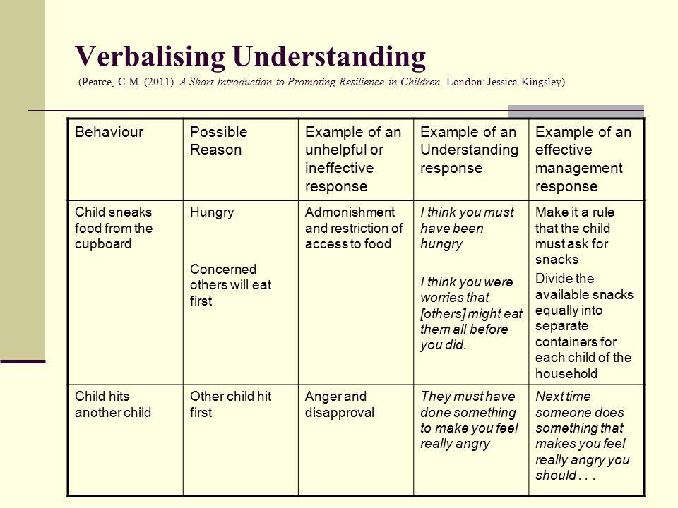 Verbalising Understanding (Pearce, C.M. (2011).