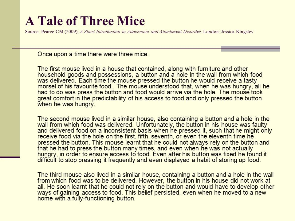 A Tale of Three Mice Source: Pearce CM (2009), A Short Introduction to Attachment and Attachment Disorder.