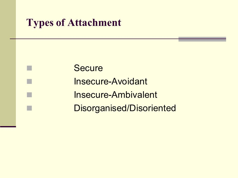 Types of Attachment Secure Insecure-Avoidant Insecure-Ambivalent Disorganised/Disoriented