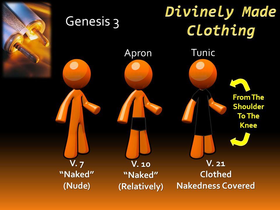Genesis 3 V. 7 Naked (Nude) V. 10 Naked (Relatively) Apron V.