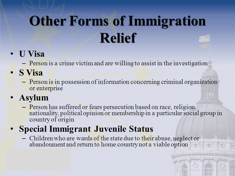 Other Forms of Immigration Relief U Visa – Person is a crime victim and are willing to assist in the investigation S Visa – Person is in possession of information concerning criminal organization or enterprise Asylum – Person has suffered or fears persecution based on race, religion, nationality, political opinion or membership in a particular social group in country of origin Special Immigrant Juvenile Status – Children who are wards of the state due to their abuse, neglect or abandonment and return to home country not a viable option