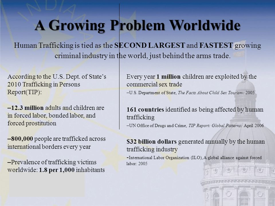 Human Trafficking is tied as the SECOND LARGEST and FASTEST growing criminal industry in the world, just behind the arms trade. A Growing Problem Worl