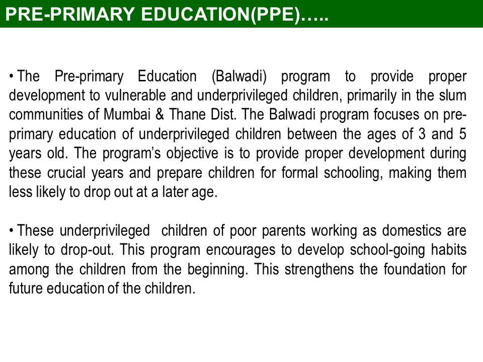 The Pre-primary Education (Balwadi) program to provide proper development to vulnerable and underprivileged children, primarily in the slum communities of Mumbai & Thane Dist.
