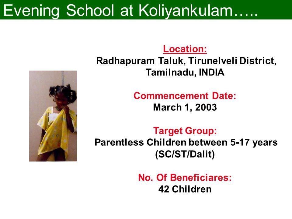 Evening School at Koliyankulam…..