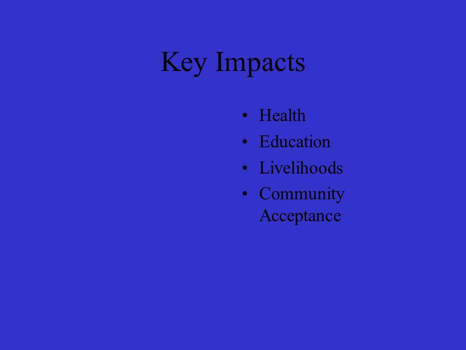 Key Impacts Health Education Livelihoods Community Acceptance