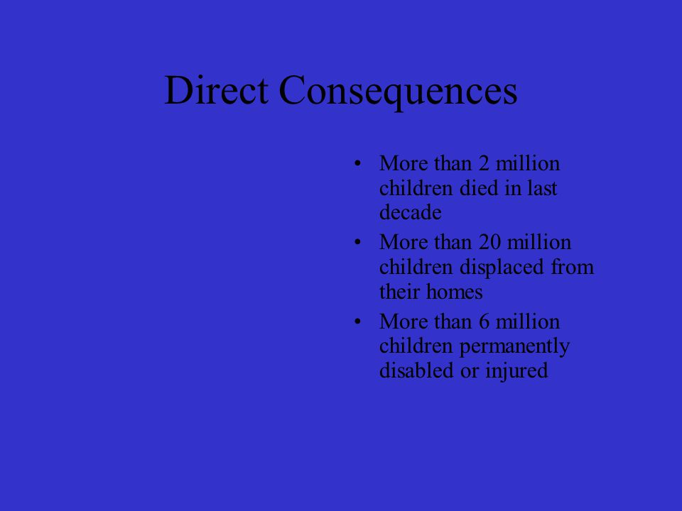 Direct Consequences More than 2 million children died in last decade More than 20 million children displaced from their homes More than 6 million children permanently disabled or injured
