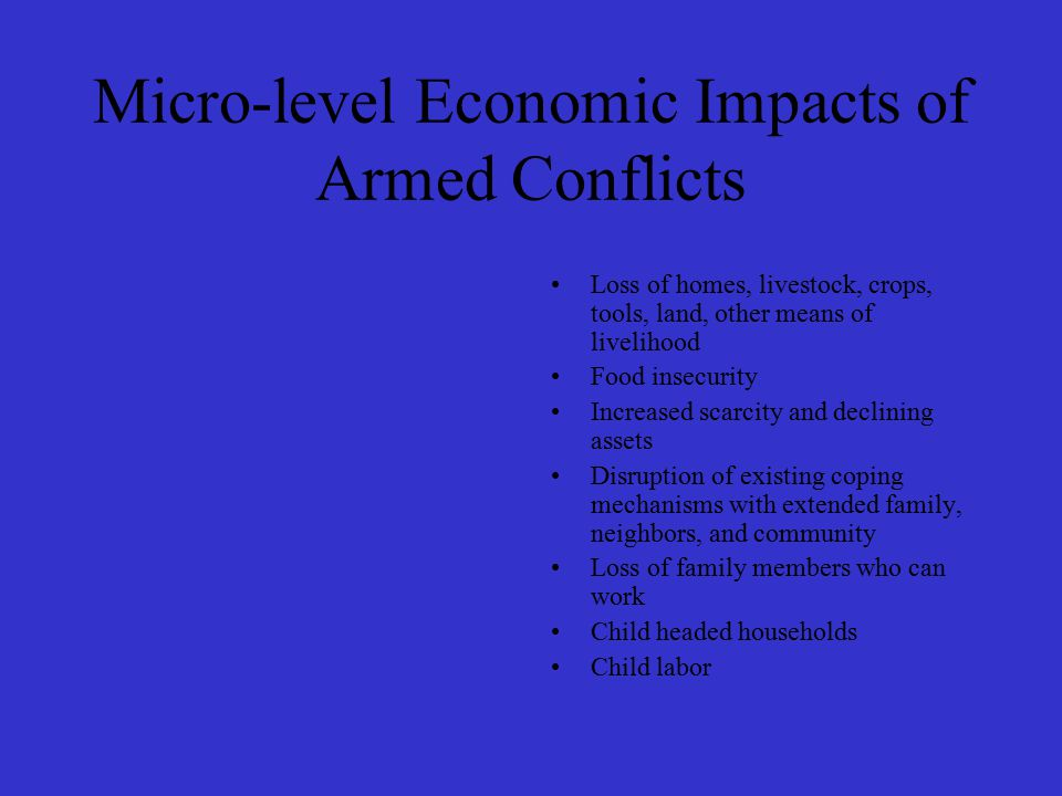 Micro-level Economic Impacts of Armed Conflicts Loss of homes, livestock, crops, tools, land, other means of livelihood Food insecurity Increased scarcity and declining assets Disruption of existing coping mechanisms with extended family, neighbors, and community Loss of family members who can work Child headed households Child labor