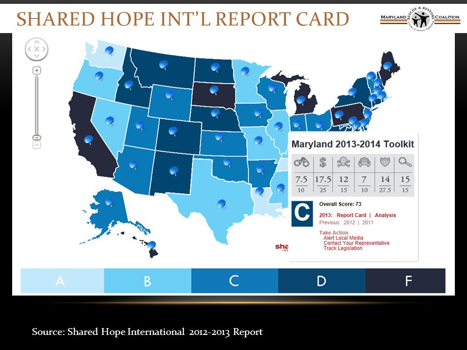 SHARED HOPE INT'L REPORT CARD Source: Shared Hope International 2012-2013 Report