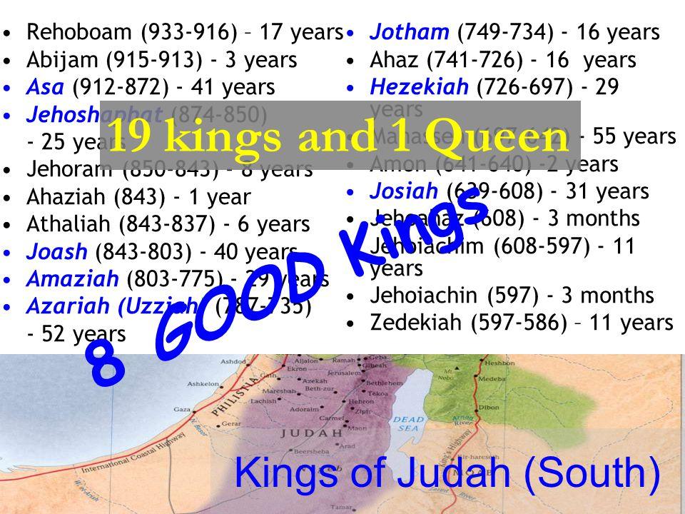 Kings of Israel (North) Jeroboam I (933-911) - 22 years Nadab (911-910) - 2 years Baasha (910-887) – 24 years Elah (887-886) - 2 years Zimri (886) – 7 days Omri (886-875) - 12 years Ahab (875-854) - 22 years Ahaziah (855-854) - 2 years Jehoram (Joram) (854-843) -12 years Jehu (843-816) - 28 years Jehoahaz (820-804) - 17 years Jehoash (Joash) (806-790) – 16 years Jeroboam II (790-749) – 42 years Zechariah (748) - 6 months Shallum (748) - 1 month Menahem (748-738) - 10 years Pekahiah (738-736) – 2 years Pekah (748-730) - 20 years Hoshea (730-721) - 9 years 19 kings – ALL BAD!