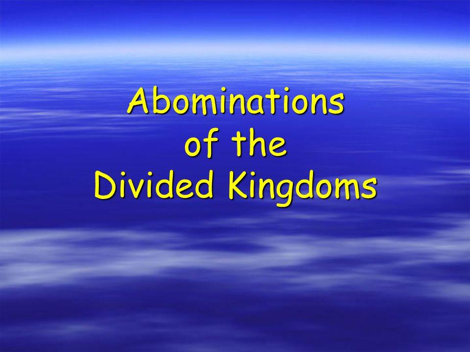 Kings of Judah (South) Rehoboam (933-916) – 17 years Abijam (915-913) - 3 years Asa (912-872) - 41 years Jehoshaphat (874-850) - 25 years Jehoram (850-843) - 8 years Ahaziah (843) - 1 year Athaliah (843-837) - 6 years Joash (843-803) - 40 years Amaziah (803-775) - 29 years Azariah (Uzziah) (787-735) - 52 years Jotham (749-734) - 16 years Ahaz (741-726) - 16 years Hezekiah (726-697) - 29 years Manasseh (697-642) - 55 years Amon (641-640) -2 years Josiah (639-608) - 31 years Jehoahaz (608) - 3 months Jehoiachim (608-597) - 11 years Jehoiachin (597) - 3 months Zedekiah (597-586) – 11 years 19 kings and 1 Queen 8 GOOD Kings