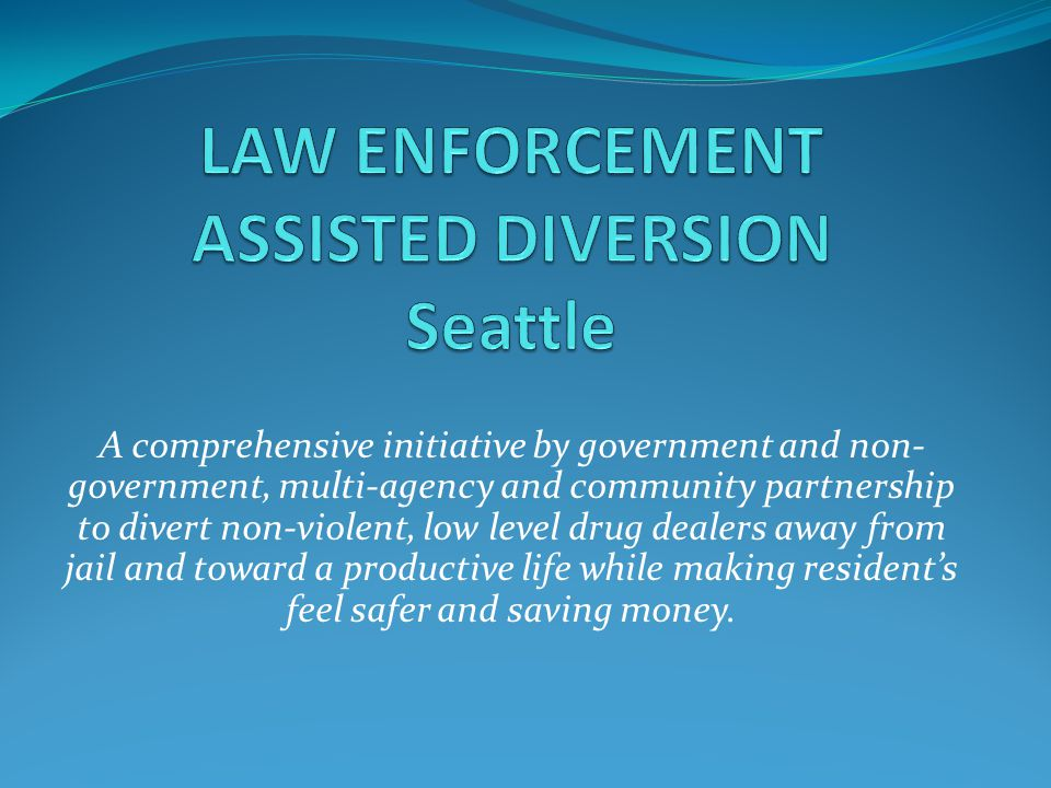 A comprehensive initiative by government and non- government, multi-agency and community partnership to divert non-violent, low level drug dealers away from jail and toward a productive life while making resident's feel safer and saving money.