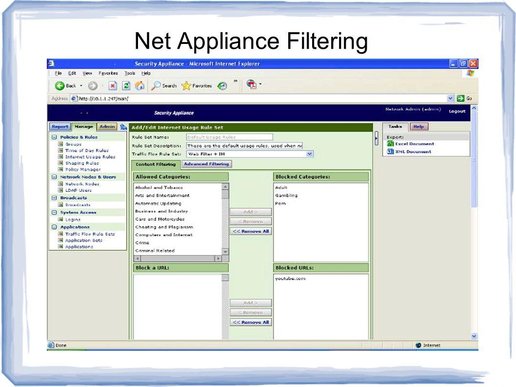 Net Appliance Filtering